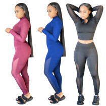 Womens autumn and winter new high elastic yoga suit mesh stitching pants suit YZ938