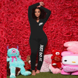 Sexy Printed Zipper V-Neck Long Sleeves Skinny Jumpsuit AMM8833