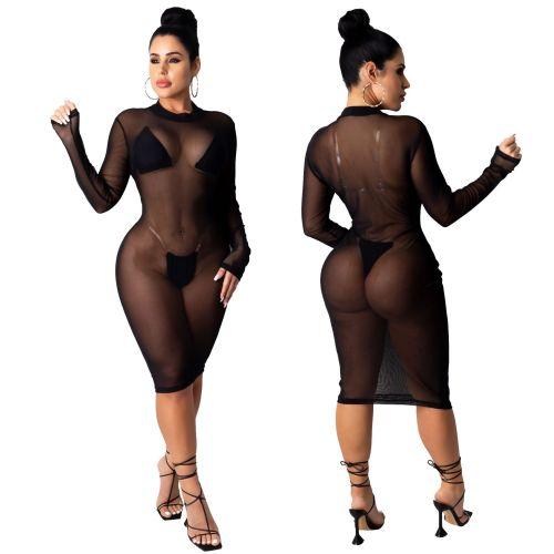 Sexy fashion nightclub super stretch mesh dress SMR9883