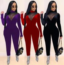 Womens fashion casual sexy gold velvet mesh stitching see-through slim long jumpsuit SM9128
