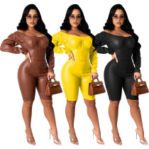 Womens fashion casual sexy one-shoulder zipper PU leather jumpsuit W8340