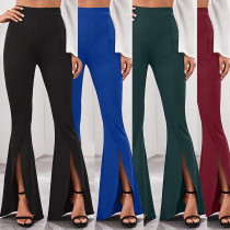 High waist belted solid color flared trousers LD8566