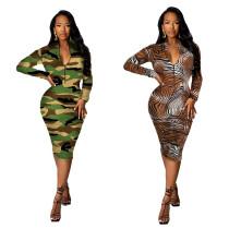 Sexy fashion tiger print zipper dress LML185