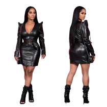 Sexy PU leather V-neck dress with belt LML186