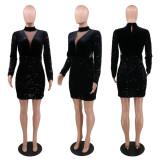 Sequin V-neck sexy dress womens clothing YF8811