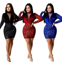 Autumn and winter warm thick velvet stitching sequin dress women CM802