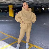 womens hooded plus fleece sweater fashion casual suit K20S09607
