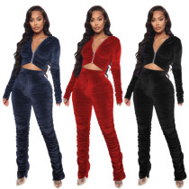 Womens autumn and winter new fashion casual pleated two-piece pleated suit JLX6140