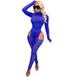 Knitted striped stitching mesh hollow sexy tight-fitting long-sleeved jumpsuit ME2957