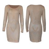 Milk silk tight-fitting long-sleeved beaded hot diamond party dress ME2948
