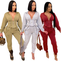 Sexy slim strappy jogger casual suit QZ6118
