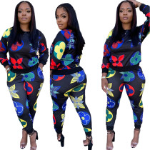 Two-piece casual fashion digital printing sports suit SMR9937
