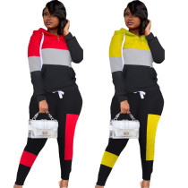 Contrasting color stitching hooded casual sports suit two-piece suit LM8209
