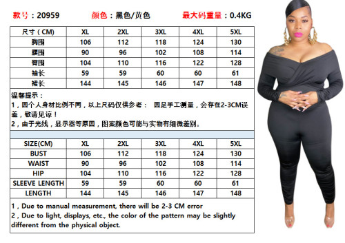 Solid color one-shoulder tight-fitting sexy jumpsuit plus size Womens jumpsuit OSS20959