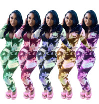 Two-piece tie-dye printing casual zipper set LY609