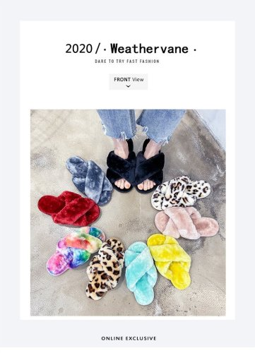Home Fur Slippers Womens Large Size Flat Cross Strap Plush Slippers Womens Shoes Large Size 43 HWJ309