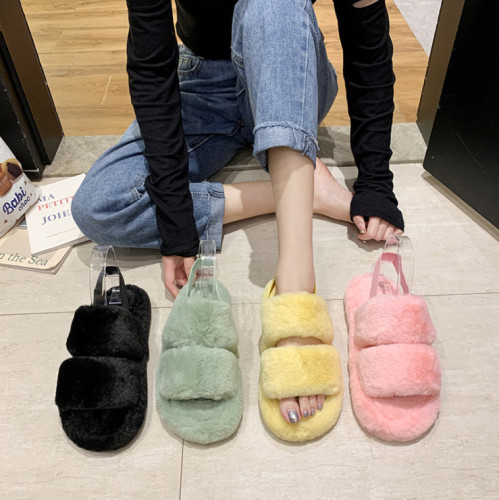 Colorful heel strap soft plush thick-soled home fur slippers women HWJ321