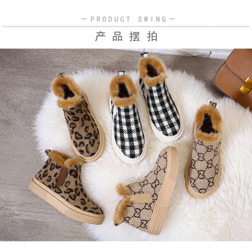 Leopard check warmth and velvet flat-bottomed cotton shoes large size Womens shoes HWJ313
