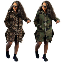 Ladies camouflage leopard print hooded drawstring long trench coat SQ921