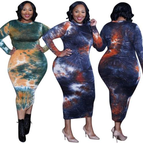 Tie-dye printed tight-fitting buttocks sexy long autumn and winter plus size Womens dress OSS20975