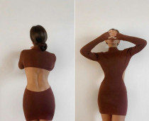 Sexy high-neck open back tight-fitting buttocks solid color dress ZC3889