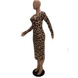 Women Fashion Leopard Print Long Sleeve Deep V Dress FS3625