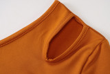 Autumn and winter new fashion one-shoulder cropped top slim slimming casual pants suit S0B3714A