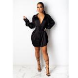 Womens sexy long sleeve lapel belt cardigan short skirt solid color dress FS3629