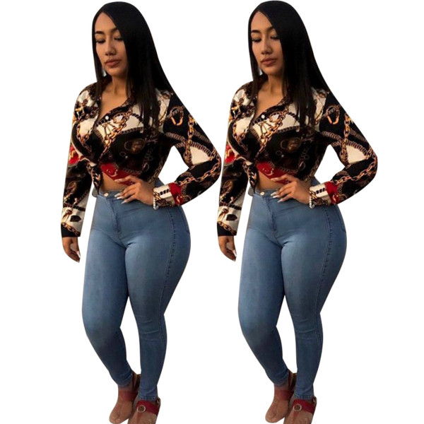 Womens retro fashion chain casual shirt YSF2350
