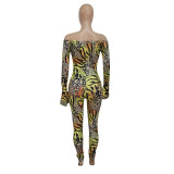 Sexy female slim fit flared sleeve leopard print jumpsuit winter Q1073