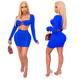Fashion sexy lace wrap chest long sleeve two-piece short skirt bag hip skirt female XZ3756