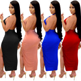 Sexy hollow open back Womens dresses Womens midi skirt drawstring XZ3755