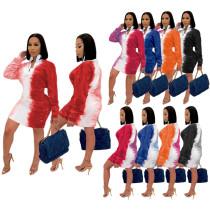 Fashion sexy gradient positioning printing dress SH7228