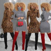 Temperament Womens houndstooth leopard print dress long skirt R6382