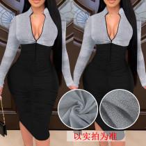 Sexy stitching zipper long sleeve pleated slim dress nightclub K3023