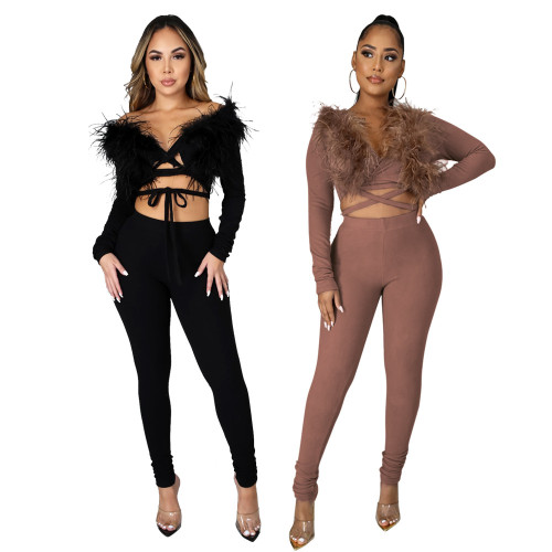 Two-piece Womens ostrich hair long-sleeved shirt slim pile pile pants CCY8824