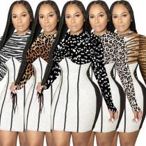 Fashion splicing hedging leopard print mid-waist slim bag hip skirt dress WY6719