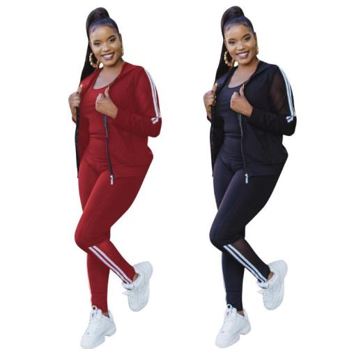 Autumn and winter mesh stitching solid color sports three-piece suit P8544