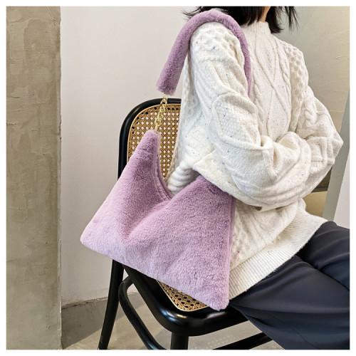 Stylish One Shouldered Fur Versatile Crossbody Bag G-962