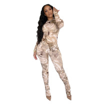 Fashion Printed Round Neck Long Sleeves Top With Stack Trousers Two Piece Sets JZH8013