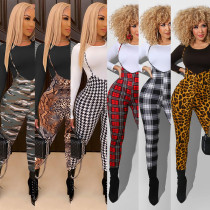 Fashion Round Neck Long Sleeves Top With Printed Trousers Skinny Two Piece Sets FX236