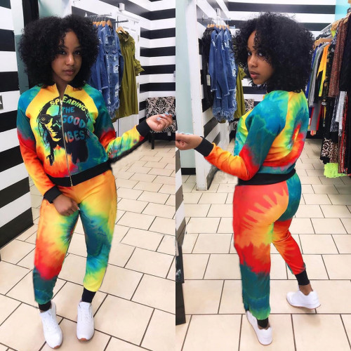 Womens personality printed tie-dye street sports and leisure two-piece suit C2045L