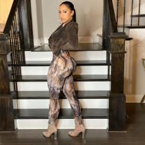 Womens Long Sleeve Printed Slim Breathable Sports Jumpsuit K20Q09780
