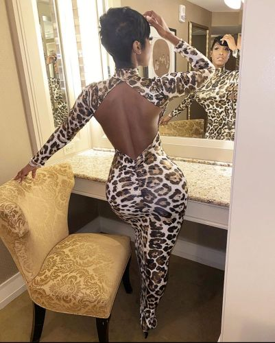 Plus size women's halter back hip tight-fitting bag hip skirt long-sleeved leopard print dress FF1069