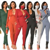 6 colors optional new solid color zipper jumpsuit (without mask P8556