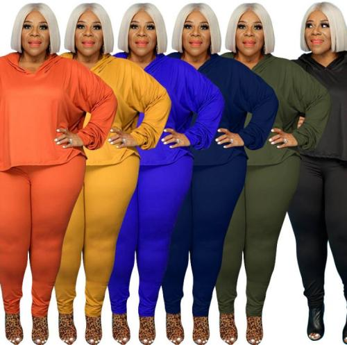 Pure color stretch sweater fashion casual two-piece suit plus size Womens suit OSS21021