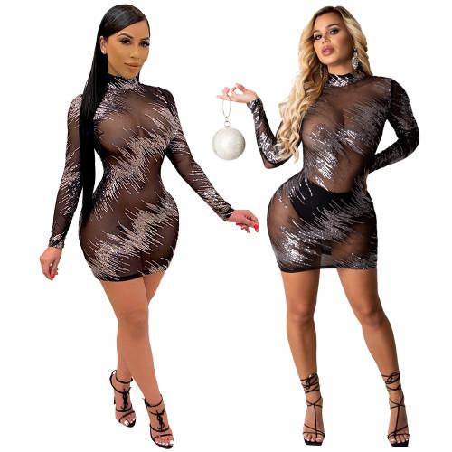 Sexy nightclub tight mesh see-through bag hip dress women CCY8833