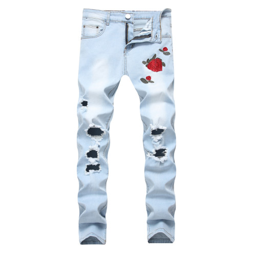 Mens embroidered rose flower denim ripped light blue pants slim-fit plus size stretch trousers TX1855