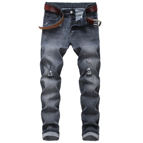 Mens ripped stretch jeans black gray straight-leg slim fit Mens TX962