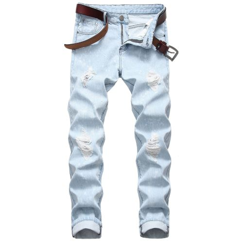 Mens straight slim-fit ripped jeans Ouma Mens denim white dots without elastic TX507